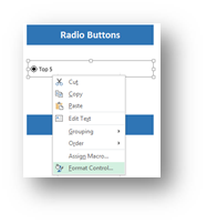 Option Button Control on the Developer Tab