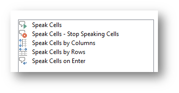 Speak Cells Command in Excel
